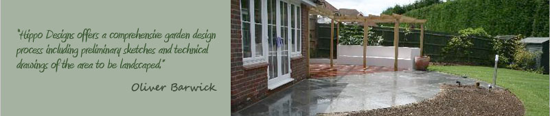 An example of a Garden Design project in Surrey included paving new turf and a free garden design